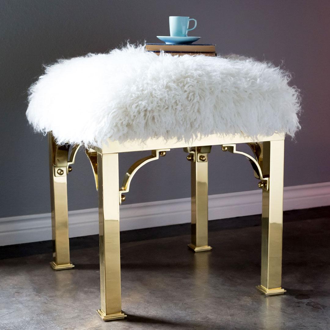furry stool upcycle