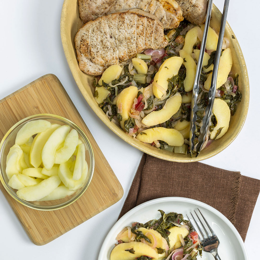 pork chops with apple and chard
