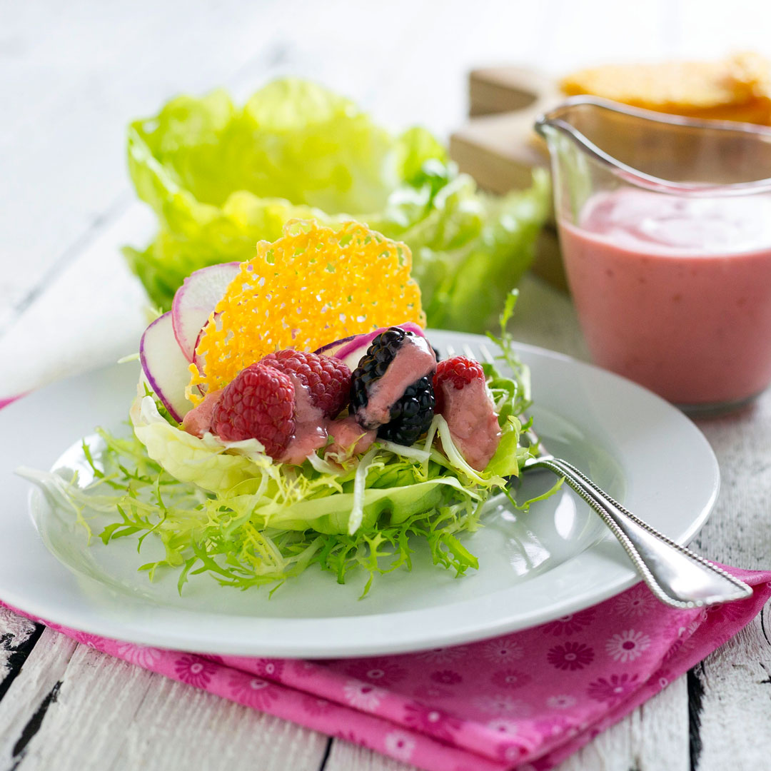 berry lettuce cups with radish and cheese crisps