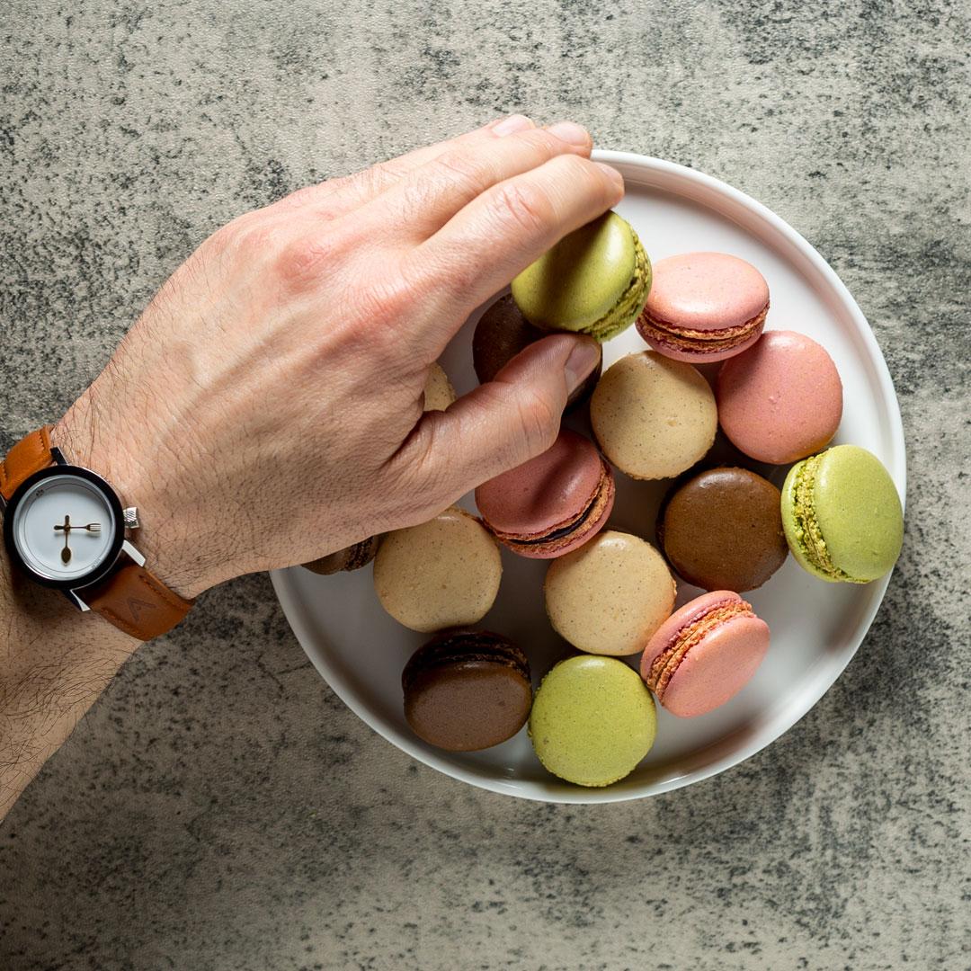 arranging macarons