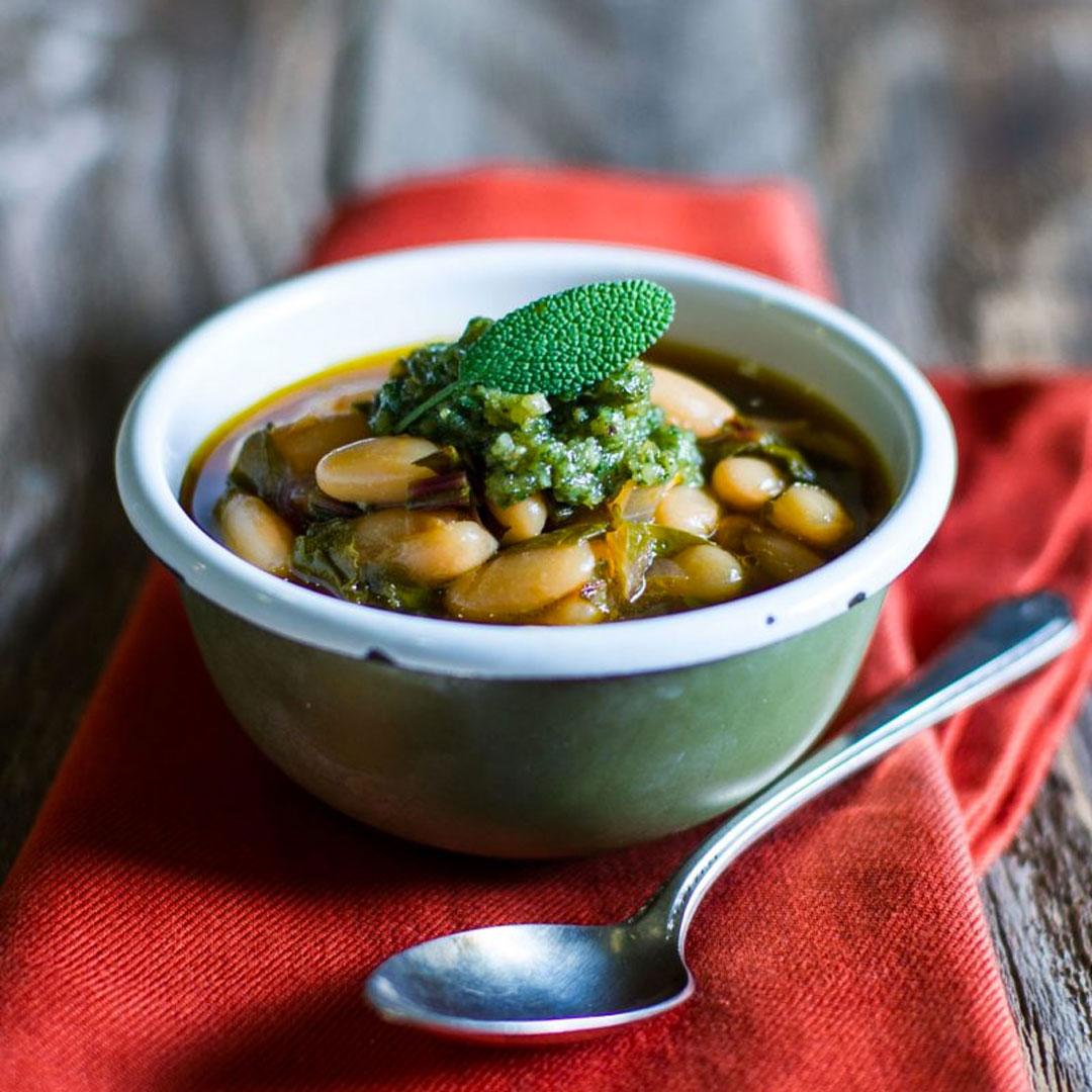 cannellini bean soup with walnut sage pesto